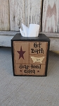 Primitive Hot Bath Bathroom Sampler Tissue Box Cover