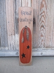 Primitive Fall Autumn Pumpkin with Stars Vertical Hand Painted Sign