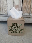 Primitive Hand Painted Irish Kisses Shamrock Wishes St. Patrick's Day Tissue Box Cover with Color Options