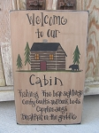 Rustic Primitive North Woods Cabin Happenings Lodge Hand Painted Wooden Sign