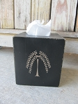 Primitive Hand Painted Willow Tree Tissue Box Cover