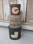 Primitive Winter Ice Skate and Snowman Set of 3 Oval Stacking Boxes