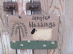 Primitive Simple Blessings Sheep and Willow Tree Sign
