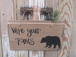 Primitive Rustic Wipe Your Paws Bear Wooden Sign
