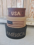 Primitive America Flag USA Hand Painted Oval Set of 3 Stacking Boxes