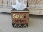 Primitive Americana Patriotic Hand Painted Stars and Stripes with Stars Tissue Box Cover