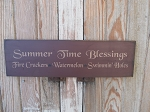 Primitive Summer Time Blessings Wooden Hand Painted Sign