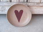 Primitive Heart Hand Painted Wooden Bowl