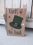 Primitive St. Patrick's Day Leprechaun Derby Hat Hand Painted Vintage Book with Clovers