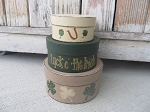 Primitive Hand Painted St. Patrick's Clover Shamrock Round Set of 3 Stacking Boxes