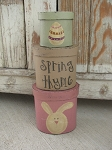Primitive Hand Painted Easter Bunny and Easter Egg Set of 3 Oval Stack Boxes