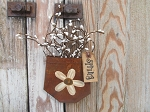 Primitive Daisy Rusty Tin Hanging Pocket