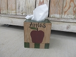 Primitive Country Apple Hand Painted Tissue Box Cover