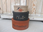 Primitive Fall Gatherings Autumn Pumpkin Hand Painted Oval Set of 3 Stacking Boxes