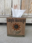 Primitive Sunflower Hand Painted Tissue Box Cover