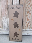 Primitive Country Gingerbread Cookies Vertical Hand Stenciled Wooden Sign