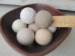 Primitive Farmhouse Fresh Neutral Rag Balls Set of 9