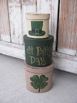 Primitive St Patrick's Day Shamrock Clover Hand Painted Set of 3 Oval Stacking Boxes