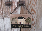 Primitive Saltbox and Willow Hand Painted Vintage Hanging Book