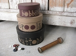 Primitive Sewing Notions Buttons and Spools Stacking Boxes