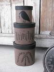Primitive Olde Willow Tree and Crow Hand Painted Set of 3 Oval Stacking Boxes