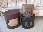 Primitive Sheep and Stars Hand Painted Set of 3 Oval Stacking Boxes