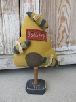 Primitive Bumble Bee Skep Hive Make Do on Antique Spool