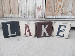 Nautical Beach Rustic LAKE Wooden Block Set of 4