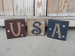 Primitive Americana USA Set of 3 Block Letter Set