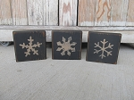 Primitive Country Winter Set of 3 Snowflake Wooden Blocks