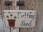 Primitive Spring Summer Potting Shed Sign with Flower Pot with 3 Color Options