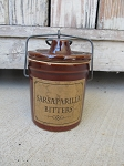 Primitive Brown Stoneware Crock with Sarsaparilla Bitters Label
