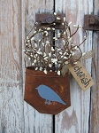 Shabby Chic Country Blue Bird Rusty Pocket
