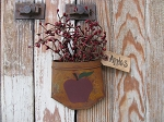 Country Primitive Apple Rusty Tin Hanging Pocket