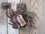 Primitive Grapevine Star with Homespun German Pine Winter Wreath and Tag