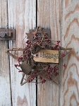 Primitive Grapevine Star with Burgundy Berry Wreath and Tag