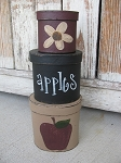Primitive Country Apple and Crow Hand Painted Oval Stack Boxes Set of 3