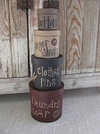 Primitive Laundry Room Set of 4 Round Stacking Boxes