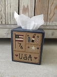 Primitive Americana Patriotic Hand Painted Independence Sampler Tissue Box Cover