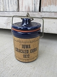 Primitive Cobalt Blue Stoneware Crock with Iowa Cracked Corn 1872 Primitive Label
