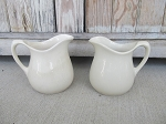 Antique Primitive Stoneware Ironstone Linen White Pitcher