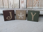 Primitive Country Set of 3 JOY Wooden Blocks with Design Options