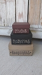 Primitive Keepsakes Photos Memories Square Set of 3 Stacking Boxes