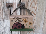 Primitive Scatter Sunshine Lady Bug and Sunflowers Vintage Hanging Book