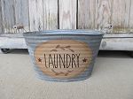 Primitive Country Laundry Hand Painted Galvanized Oval Tub