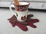 Primitive Autumn Fall Leaves Coasters Set of 6