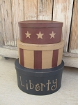 Primitive Hand Painted Liberty Stars and Stripes Oval Set of 3 Stacking Boxes