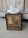 Primitive Let it Snow Snowman Sampler Winter Hand Painted Tissue Box Cover