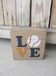 Rustic LOVE Sports Baseball Hand Painted Wood Pallet Lathe Box Sign Customize with your team colors