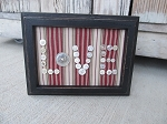 Primitive Antique Vintage White Button LOVE Frame on Striped Fabric